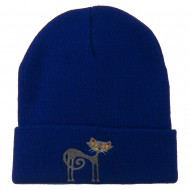 Black Cat Embroidered Long Beanie - Royal