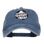 Soccer Star Embroidered Washed Cap - Navy