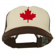 Canada's Maple Leaf Embroidered Foam Front Mesh Back Cap - Brown Tan