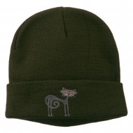 Black Cat Embroidered Long Beanie - Olive