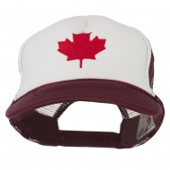 Canada's Maple Leaf Embroidered Foam Front Mesh Back Cap - Maroon White