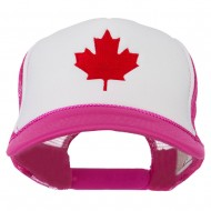 Canada's Maple Leaf Embroidered Foam Front Mesh Back Cap - Hot Pink White