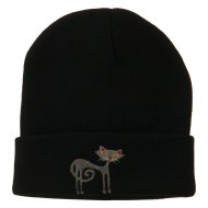 Black Cat Embroidered Long Beanie - Black