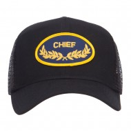 Chief Oak Leaf Patched Mesh Cap - Black