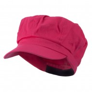 Cotton Elastic Newsboy Cap-Fuchsia