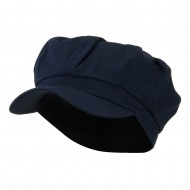 Cotton Elastic Newsboy Cap-Navy