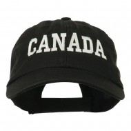 Canada Embroidered Low Profile Pet Spun Washed Cap - Black