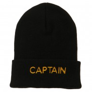 Captain Embroidered Cuff Long Beanie - Black