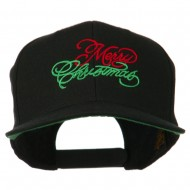 Merry Christmas Embroidered Snapback Cap - Black