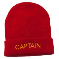 Captain Embroidered Cuff Long Beanie - Red