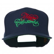 Merry Christmas Embroidered Snapback Cap - Navy