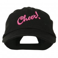 Cheer Embroidered Pet Spun Washed Cap - Black