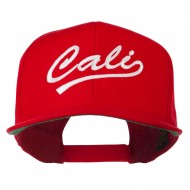 Cali Embroidered Flat Bill Cap - Red