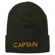Captain Embroidered Cuff Long Beanie - Olive