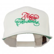 Merry Christmas Embroidered Snapback Cap - Natural