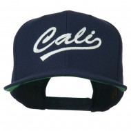 Cali Embroidered Flat Bill Cap - Navy
