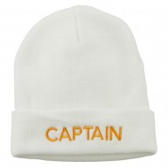 Captain Embroidered Cuff Long Beanie - White