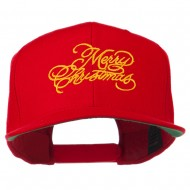 Merry Christmas Embroidered Snapback Cap - Red