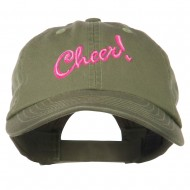 Cheer Embroidered Pet Spun Washed Cap - Olive