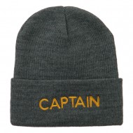 Captain Embroidered Cuff Long Beanie - Grey