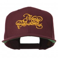 Merry Christmas Embroidered Snapback Cap - Maroon