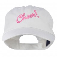 Cheer Embroidered Pet Spun Washed Cap - White