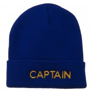 Captain Embroidered Cuff Long Beanie - Royal