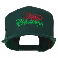 Merry Christmas Embroidered Snapback Cap - Spruce