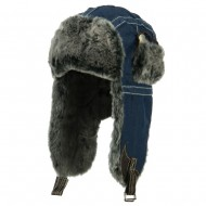 Chambray Faux Fur Trooper Hat - Navy