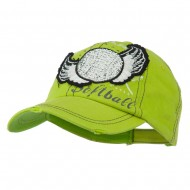 Baseball Cap with Softball and Feathers - Lime