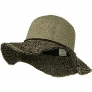 Chenille Hat with Frayed Brim - Taupe Brown