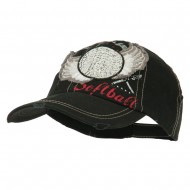 Baseball Cap with Softball and Feathers - Black