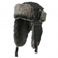 Chambray Faux Fur Trooper Hat - Black