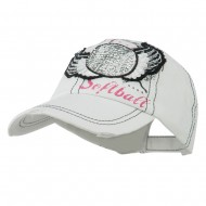 Baseball Cap with Softball and Feathers - White