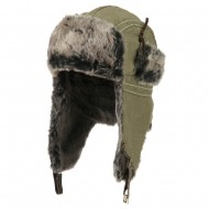 Chambray Faux Fur Trooper Hat - Khaki