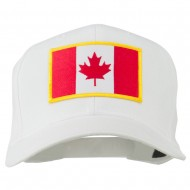 Canada Flag Embroidered Patch Cap - White