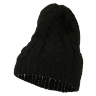 Acrylic Cable Design Beanie Hat - Black