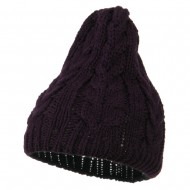 Acrylic Cable Design Beanie Hat - Purple