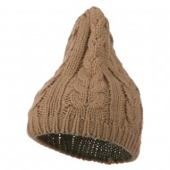 Acrylic Cable Design Beanie Hat - Taupe