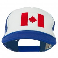 Canada Flag Embroidered Foam Mesh Back Cap - Royal White
