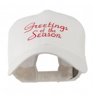 Christmas Greetings of the Season Embroidered Cap - White