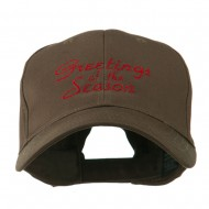Christmas Greetings of the Season Embroidered Cap - Brown
