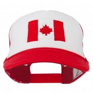 Canada Flag Embroidered Foam Mesh Back Cap - Red White Red