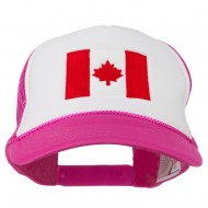 Canada Flag Embroidered Foam Mesh Back Cap - Hot Pink White