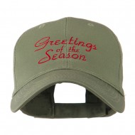 Christmas Greetings of the Season Embroidered Cap - Olive