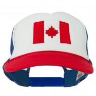 Canada Flag Embroidered Foam Mesh Back Cap - Red White Royal