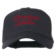 Christmas Greetings of the Season Embroidered Cap - Navy