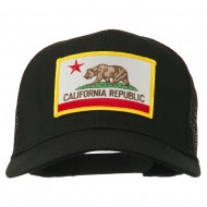 California State Flag Patched Twill Mesh Cap - Black