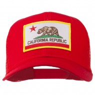 California State Flag Patched Twill Mesh Cap - Red