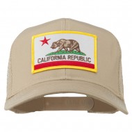 California State Flag Patched Twill Mesh Cap - Khaki